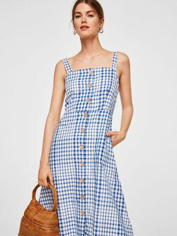 שמלה משובצת עם כפתורים