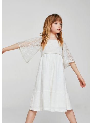 שמלה עם שרוולי תחרה מתרחבים