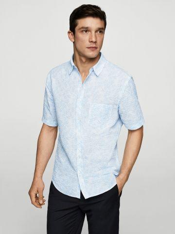 חולצה מכופתרת עם הדפס וטקסטורה מחוספסת