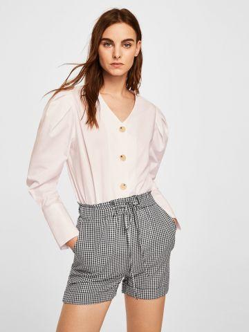 מכנסיים בהדפס משבצות ושרוכי קשירה בחזית