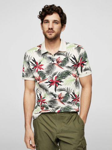 חולצת פולו בהדפס טרופי
