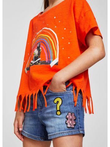 מכנסי ג'ינס עם פאטצ'ים ופייטים / בנות