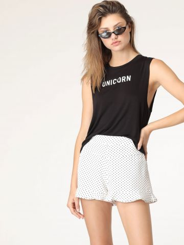 מכנסיים קצרים בהדפס נקודות עם מלמלה