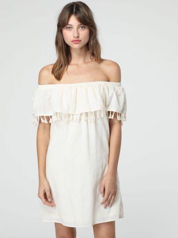 שמלת אוף שולדרס מלמלה בעיטור גדילים