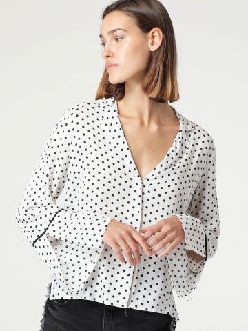 חולצה מכופתרת בהדפס נקודות עם שרוולים מתרחבים