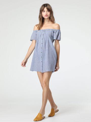 שמלת אוף שולדרס מכופרת בהדפס פסים