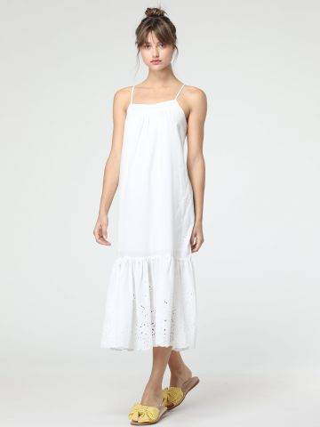 שמלת מקסי פפלום בעיטור איבקות ורקמה