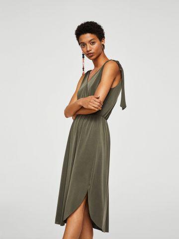 שמלת מעטפת עם קשירות בכתפיים