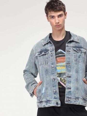 ג'קט ג'ינס אסיד ווש עם קרעים