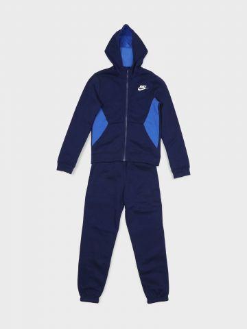 חליפת מכנסיים וג'קט טרנינג קולור בלוק לוגו / בנים