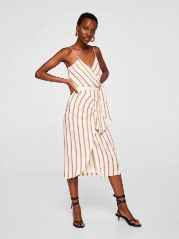 חצאית פסים עם אלמנט קשירה