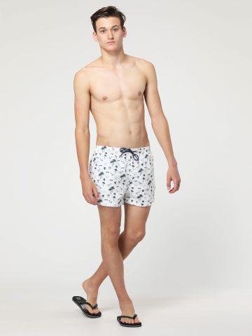 מכנסי בגד ים קצרים בהדפס איורים