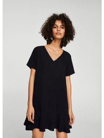 שמלת טי שירט עם פפלום נמוך