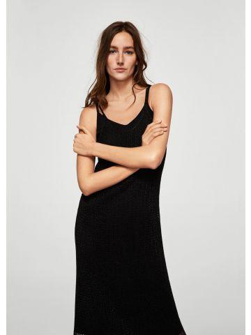 שמלת רשת צמודה עם גימור מטאלי