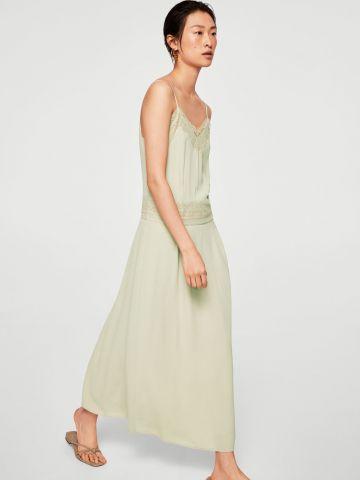 שמלת מקסי עם עיטורי תחרה ורקמות
