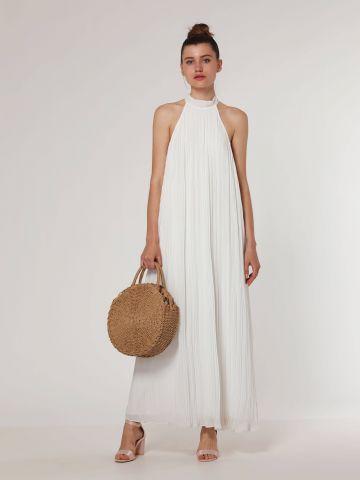 שמלת מקסי פליסה עם קולר