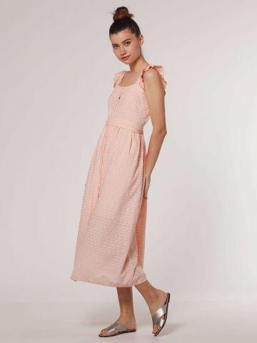 שמלת מקסי בעיטור רקמה וכתפיות מלמלה