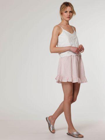 חצאית מיני עם סיומת מלמלה