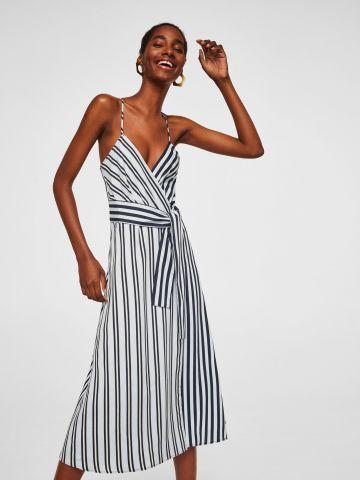 שמלת מידי מעטפת עם פסים וקשירה קדמית
