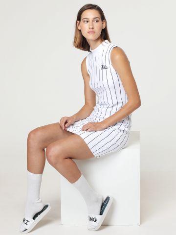 שמלת מיני קטיפה בהדפס פסים