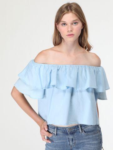 חולצת ג'ינס אוף שולדרס עם שכבות מלמלה