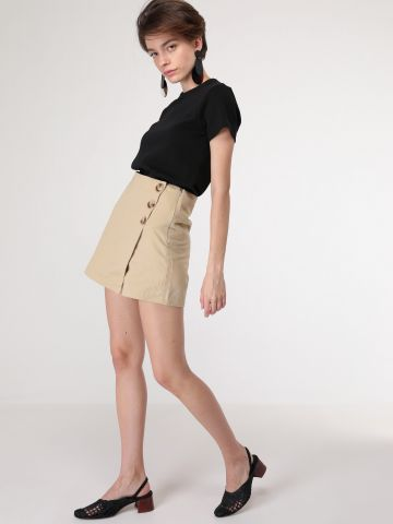 חצאית מכנס מעטפת עם כפתורים