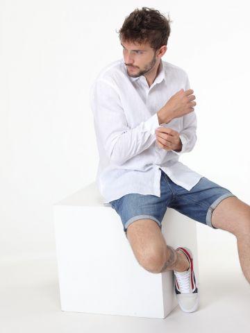חולצה מכופתרת מבד פשתן