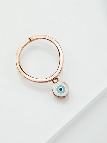 טבעת רוז גולד בשילוב עין תכלת תלויה