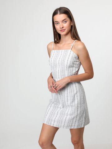 שמלת מיני פסים עם כתפיות דקות
