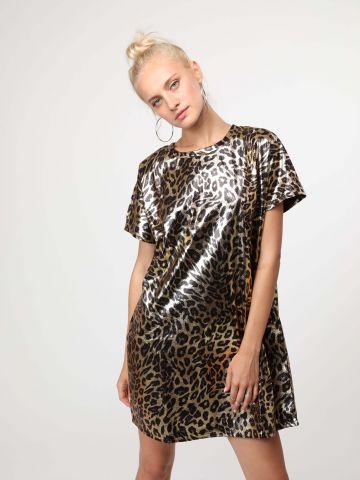 שמלת מיני מטאלית בהדפס מנומר