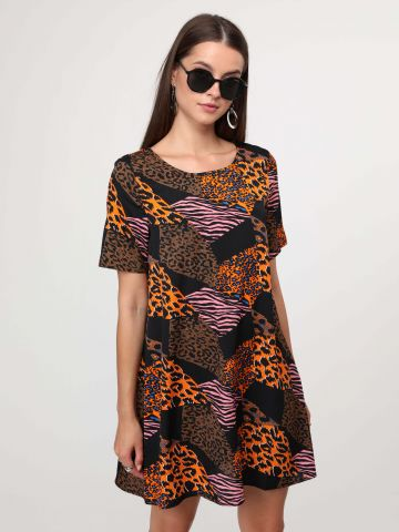 שמלת מיני מולטי פרינט