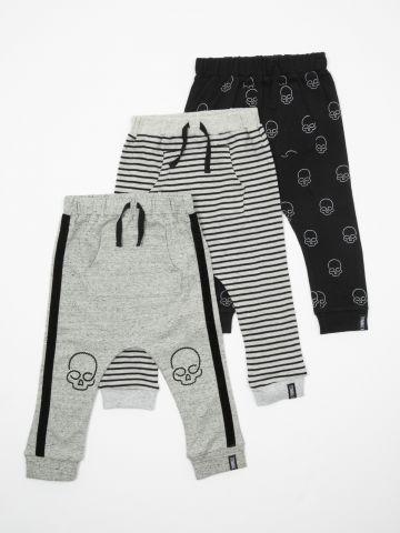 מארז 3 מכנסיים עם הדפסי גולגולות / בייבי בנים