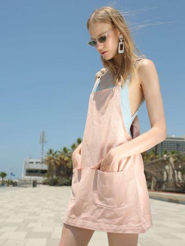 שמלת סרפן ג'ינס עם כיסים בחזית