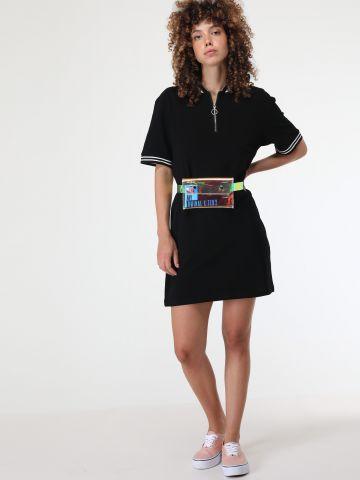 שמלת מיני עם רוכסן ומנג'טים פסים