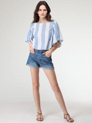ג'ינס קצר עם סיומת קיפולים