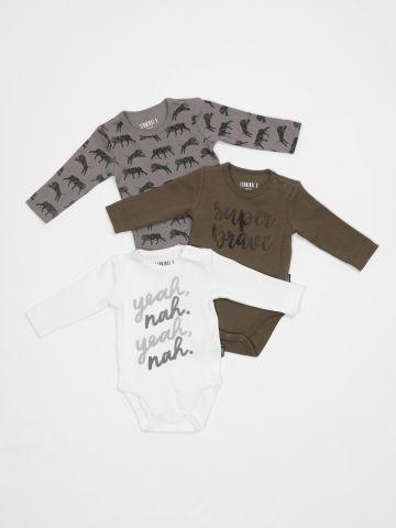 מארז 3 בגדי גוף בהדפסי ספארי / בייבי בנים