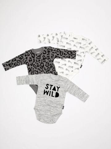 מארז 3 בגדי גוף בהדפסי ספארי מונוכרום / בייבי בנים