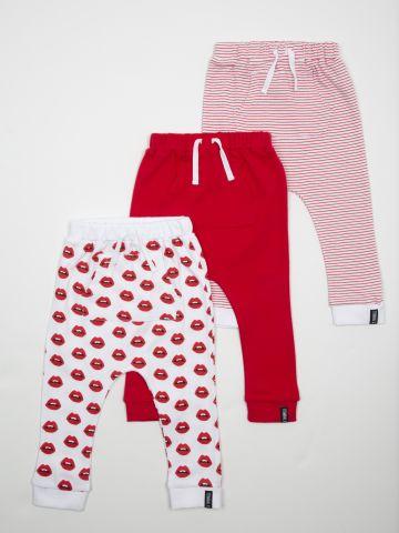 מארז 3 מכנסיים בהדפסים שונים עם כיס קנגורו / בייבי בנות