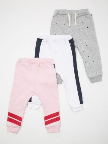 מארז 3 מכנסי טרנינג בהדפסים שונים / בייבי בנות