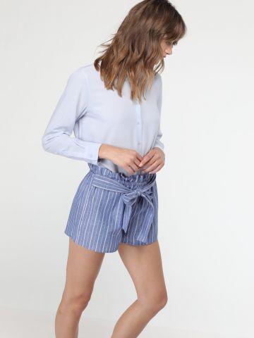 מכנסי פייפרבאג קצרים עם חגורת מותן