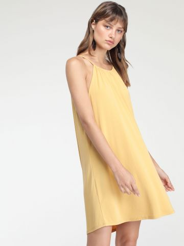 שמלת מיני חלקה עם צווארון מתכוונן