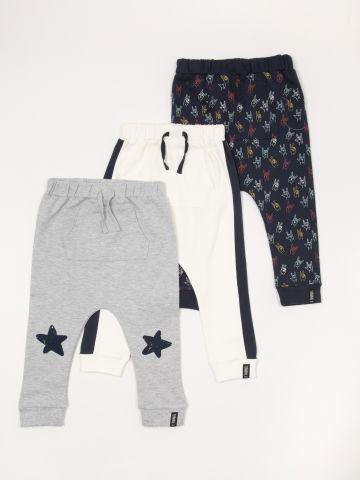 מארז 3 מכנסי טרנינג פוטר בהדפסים שונים / בייבי בנים