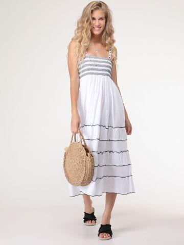 שמלת פפלום מקסי עם כתפיות תחרה