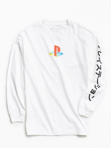 טי שירט שרוולים ארוכים עם הדפס PlayStation