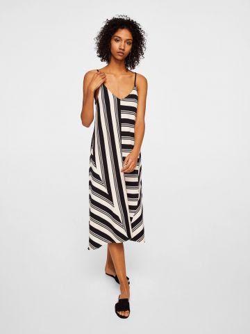 שמלה בהדפס פסים עם סיומת אסימטרית