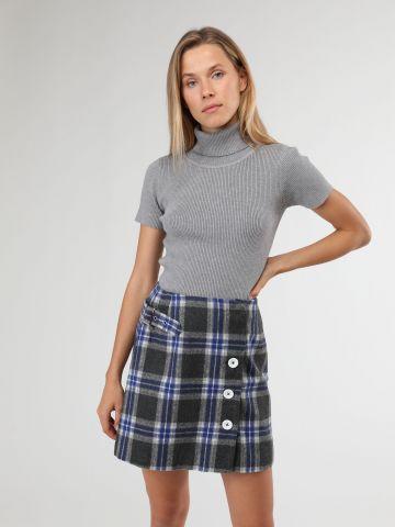 חצאית צמר מיני מעטפת עם משבצות