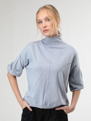 חולצת סריג עם תיפורים בולטים ושרוולי בלון