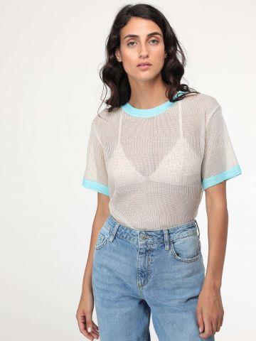 חולצת סריג לורקס עם שוליים בצבע