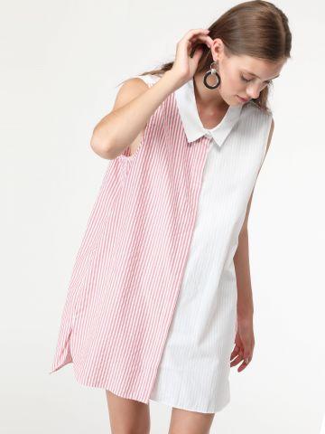 שמלת פסים מכופתרת קולור בלוק