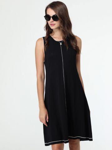 שמלת סריג עם גימורים בצבע